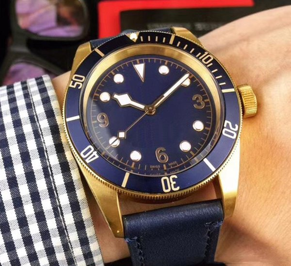 Hot Sell Watch Men Automatic Movement Tuddorr Blue Face Steel Leather Strap Watch Big Date Mens Watch Wristwatch Free Shippingorologio