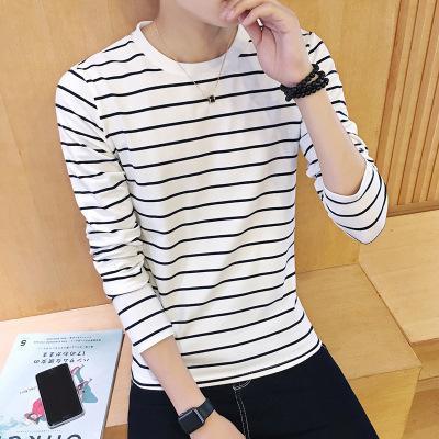 Men's T-shirts Leisure 2019 New Tops Full Casual O-neck Striped Men Black Red T-shirt men clothing