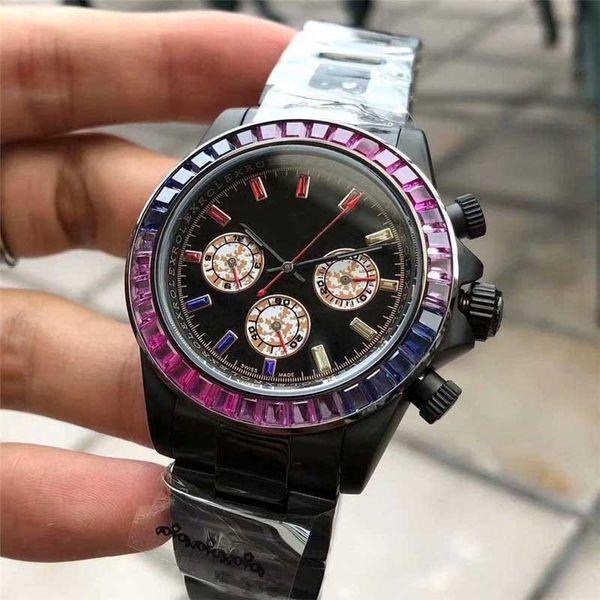 43mm luxury watch mens designer watches 6 pins sapphire diamond bezel iced watch automatic mechanical movement self-winding wristwatches