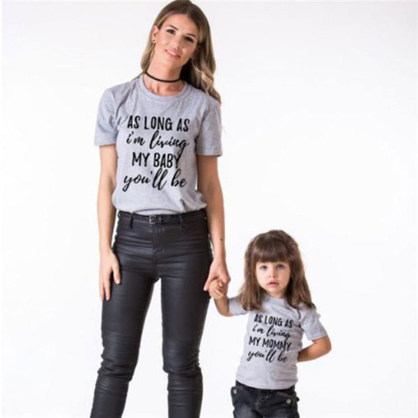sguardo Family Summer T-Shirt Mama Il bambino scherza madre e figlia corrispondenza magliette vestiti Tee Top Lettera di base camicetta