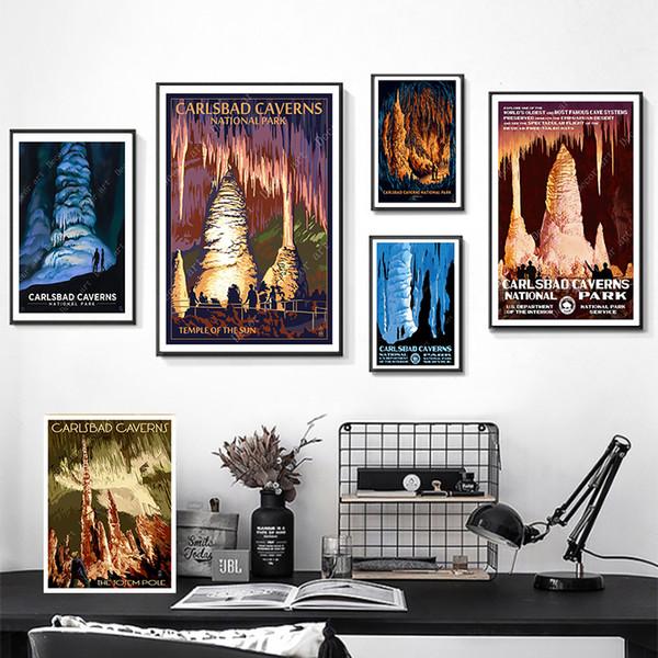 Шоссе Карлсбад Национальный Парк Нью-Мексико Путешествия Холст Картины Старинные Стены Крафт Плакаты Покрытием Стикер Стены Home Decor Подарок