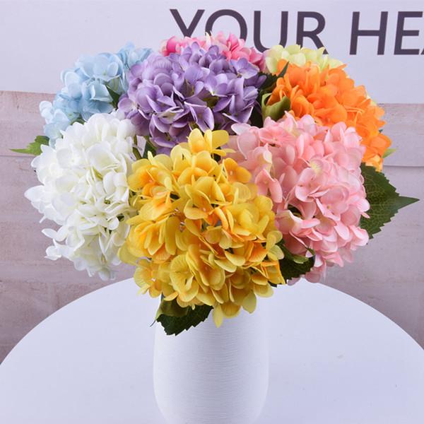47см Искусственный цветок гортензии Head Поддельный Silk Single Real сенсорный Гортензии Свадебные Simulation Главная партия Декоративные цветы LJJA3572-2
