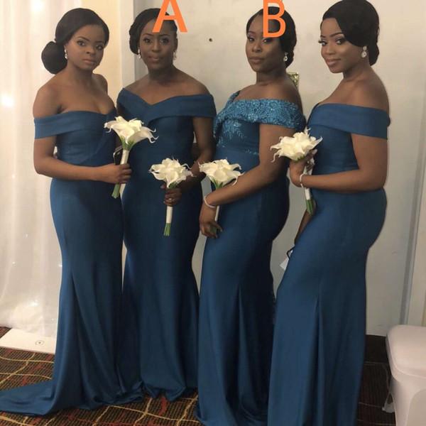 African Cheap Mermaid Brautjungfernkleider Elegant Schulterfrei Rückenfrei Geraffte Lange Hochzeitsgast Abendkleid