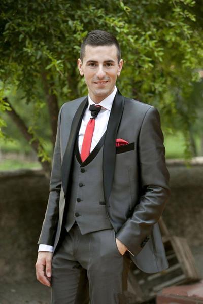 New Stylish Design One Button Dark Grey Groom Tuxedos Shawl Lapel Groomsmen Best Man Suits Mens Wedding Suits (Jacket+Pants+Vest+Tie) 913