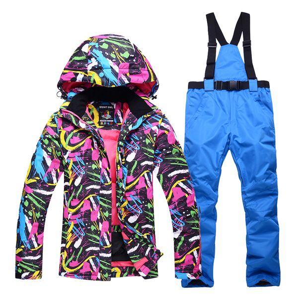 Autumn and winter professional ski suits ladies outdoor windproof waterproof wear-resistant warm snow ski jacket+ski pants women