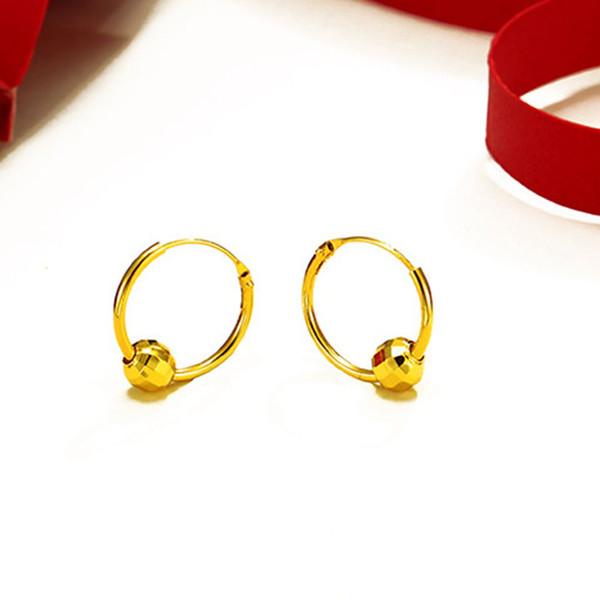 Boucles d'oreilles Cercle ronde plus récent avec des perles design or jaune 18 carats Rempli classique Femmes Boucles d'oreilles Femal Bijoux cadeau
