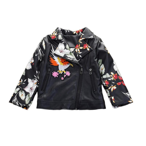 cute causal little girl jacket coat flower bird embroidery leather jacket coat for 2-6yrs girls students kids children coat