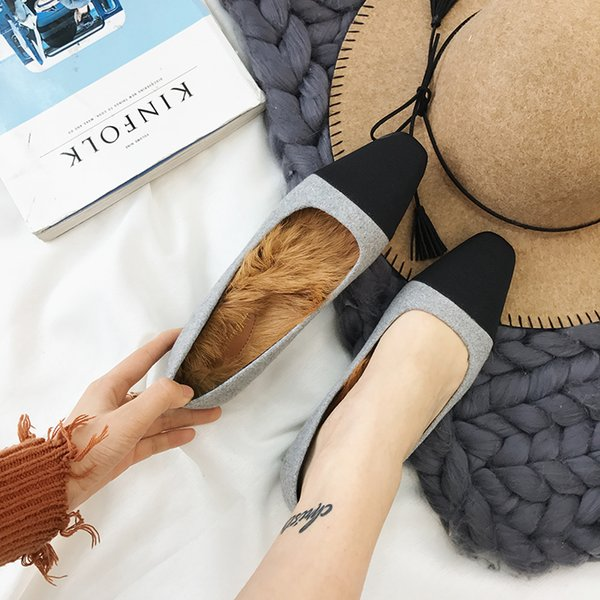 Gorgeous2019 Kare Sonbahar Kaba Gri Aşağı Erişte Yazım Renk kadın Tekli Asakuchi Ile Yüksek topuklu ayakkabılar