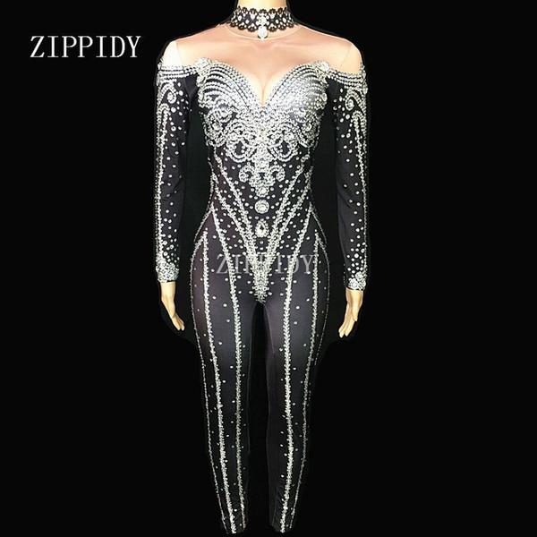 Black Silver Silver Crystal Jumpsuits Sexy Strass Body Body Dance Wear La sera delle donne celebra il costume splendente