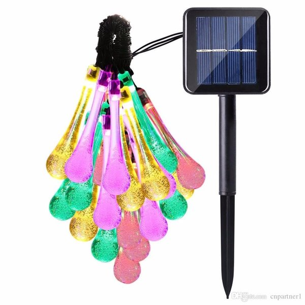 Multi Color xmas Solar Power String 2m 20 LED Lights led Strip Water Drop Outdoor Light For Wedding Christmas Festival Party Decoration