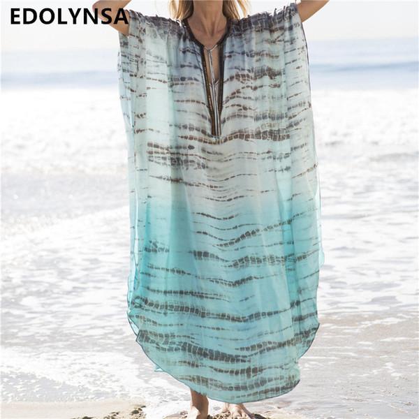 2019 Print Chiffon Tunics For Long Kaftan Bikini Cover Up Robe De Plage Sarong Beach Swimsuit Coverup #q680 J190719