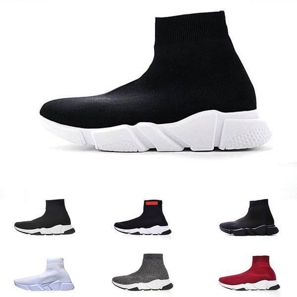 2019 Fashion Shoe Speed Trainer cheap Sneakers for men womens Speed Trainer Sock Race Runners black mens Luxury Shoe zapatos free shipping
