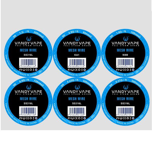Authentique Vandyvape Mesh Wire Nouveau Élément chauffant Scroll KA1 NI80 316L Matériel 5ft pour RDA RDTA réservoirs 100% Vandy Vape