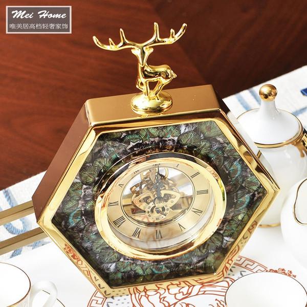 Orologio da tavolo esagonale con decoro verde pavone