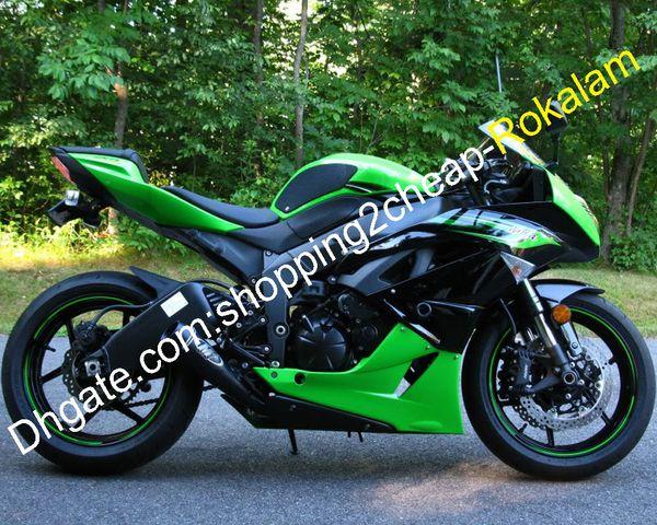 Für Kawasaki NINJA ZX6R ZX6R 09 10 11 12 ZX 6R 636 2009 2010 2011 2012 Grün Schwarz Verkleidungs-Set (Spritzguss)