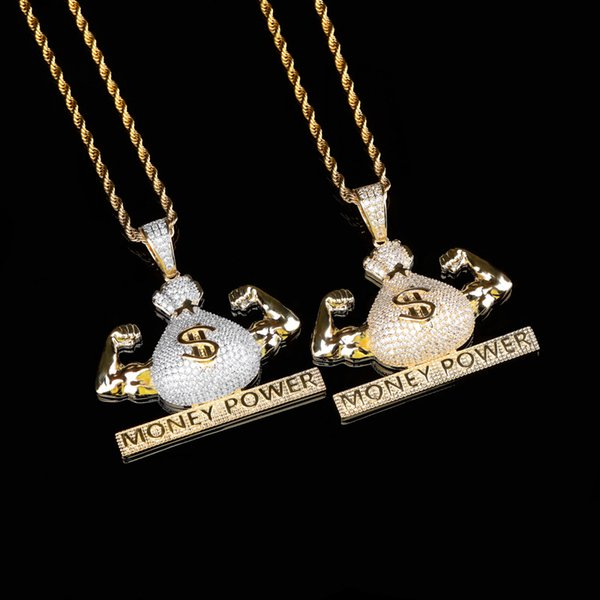 Cubic Zirconia Paved Bling Iced Out Money Power Dollars Pendants Necklace for Men Jewelry
