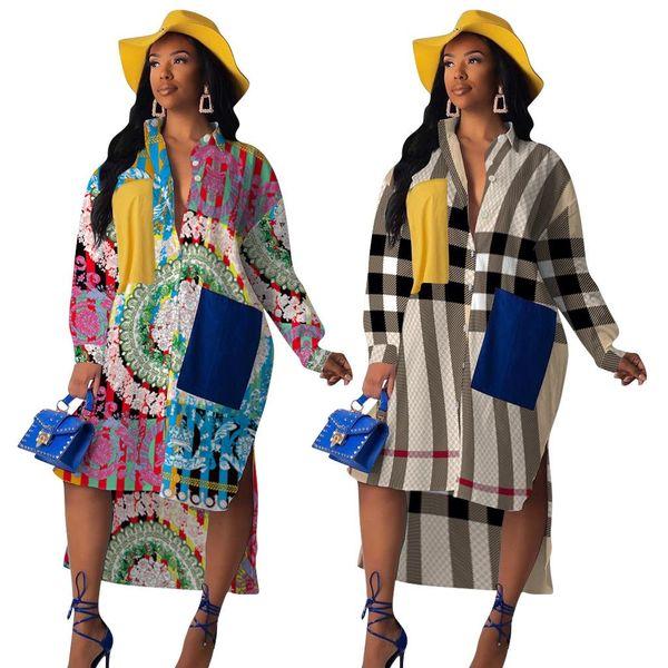 Новое прибытие женщин Paisley Элегантный печати Карманный Сращивание Блузы Нерегулярное Maxi платье Streetwear с длинным рукавом Платья Платье