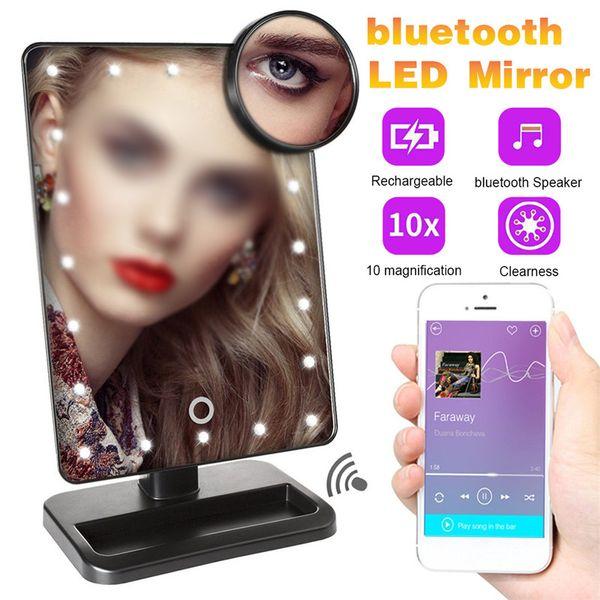 Bluetooth specchio di trucco con 20 luci LED dello schermo di tocco 10X di ingrandimento Specchi Tabella trucco Desktop Vanity 180 gradi ruotare Specchio