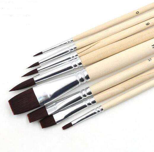 best selling Pebeo Nylon Hair Paint Brush Set Head Wooden Handle Artists Gouache Watercolor Acrylic Brushes Art Supplies 8pcs set