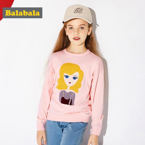 Balabala filles Fine-Pull en maille 100% coton avec motif adolescente douce Pull avec encolure ras du cou côtelée manchette et
