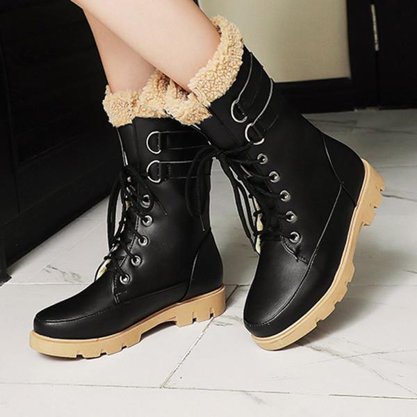 Quentes além de veludo Vintage neve Botas Mulheres do inverno Mulher Platform Shoes Moda Cross-amarrado Inverno Botas Mulheres Joelho Longo