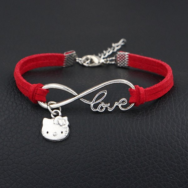 2018 New Boho Infinity Love Hello Kitty Cat Pendant Charm Bracelets & Bangles For Women Men Bohemian Red Leather Suede Jewelry Drop Shipping