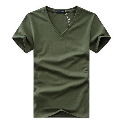 2019 Summer Mens V-neck T Shirt Newest Cotton Tee Solid Fashion T-Shirt Casual Short Sleeve Slim Fit TOP Shirt for Sales Wholesale