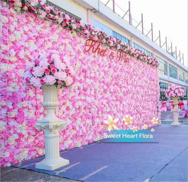 2019 Venta Caliente 10 unids / lote 60X40 CM Romántico Artificial Rose Hydrangea Flor de La Pared para la Fiesta de Bodas Etapa y Contexto Decoración Muchos colores