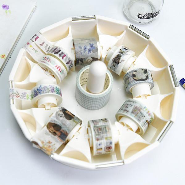 Dispenser per nastro adesivo trasparente creativo 1PCS Scatola di immagazzinaggio per nastro da ufficio Supporto da tavolo Washi con taglierina Papeleria