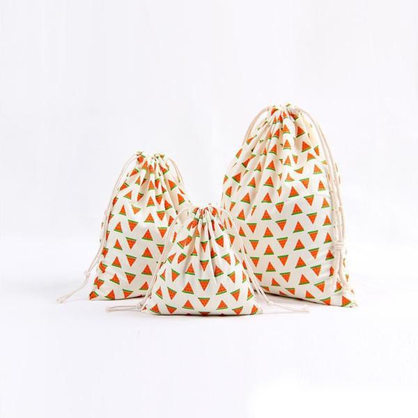 3 pçs / set Jóias Lona Com Cordão Pouch Bundle Envoltório de Presente Sacos De Doces Saco De Embalagem De Chá Saco de Xmas Decorações Para Stripe Abacaxi
