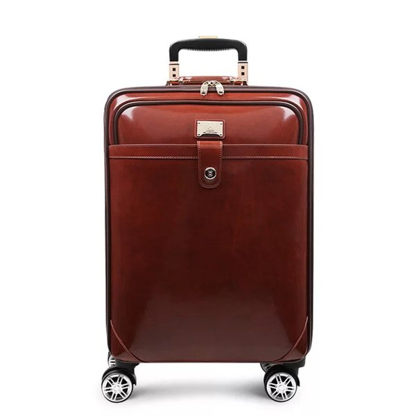Brand genuine leather fashion rolling luggage spinner carry on high quality trolley suitcase with wheels business trolley case