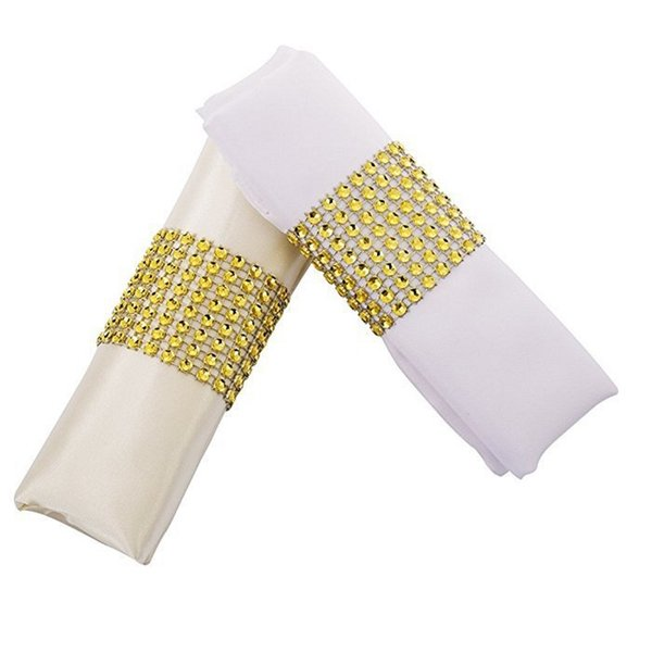 Gold/Silver Rhinestone Napkin Rings for Wedding Decoration Plastic Chair Sash Bows Napkin Holders Table Deco Accessories W9874