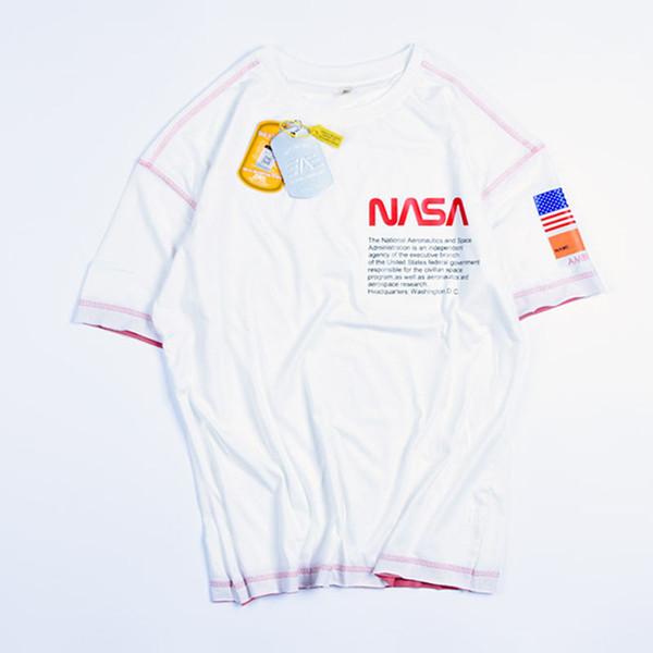 Nasa Mens Designer de Luxo T Camisas Dos Homens Ocasionais de Manga Curta de Verão de Alta Qualidade Dos Homens T de Esporte Das Mulheres
