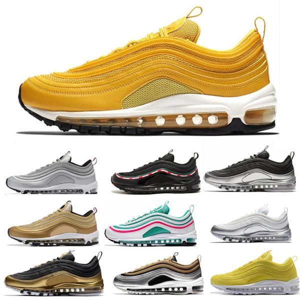 Running Shoes For Mens Women Run Metallic Pack Triple White Black Gold Silver Bullet South Beach Trainer Sport Sneaker Size 5.5-11