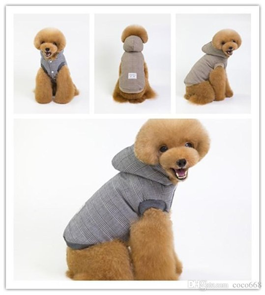 Dog clothes dog hoodies pet clothes for dogs coat jackets cotton pet supplies autumn and winter of Korean version of the lattice two legged