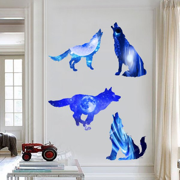 Fantastic 4 Wolves Outer Space and Stars 3D Wall Decals Vinyl Self-adhesive Beautiful Animals and Galaxy Sticker Murals for Home Decor
