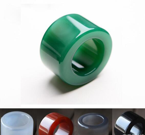 Natural green agate finger red black and white gray water chalcedony agate finger crystal large ring male lady