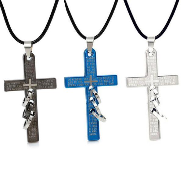 Colliers Pendentif gros Bi Ble Croix collier pendentif couple Collier tendance en alliage chaîne de bijoux pour le cadeau