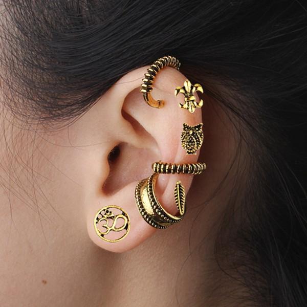 2019 Yeni stil modası küpe jewelry7 adet / takım bohemian retro çapa baykuş küpe bırakır