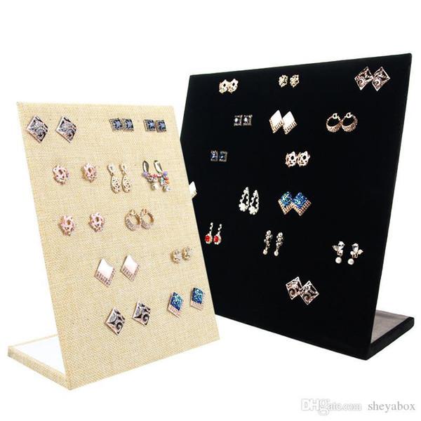 Butik Sayaç Masa Kiosk Piercing Stud Küpe Tutucu Ticaret Show için Kadife Küpe Ekran Prop Ahşap L Şekli Mücevher görüntüler