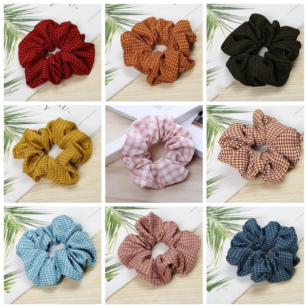 Plaid Girls Scrunchie Scrunchy Hairband Ponytail Headbands Grid Hair Holder Ropes Headdress Rubber Bands Houndstooth Hair Accessories D4853