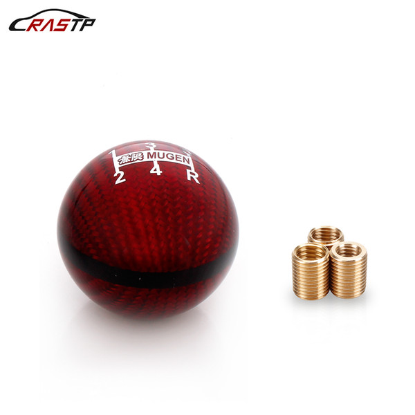 RASTP-Universal Car 5 Speed M8X1.25/M10X1.5/M10X1.25 Mugen Red Carbon Fiber Gear Shift Knob For Honda Civic Acura RS-SFN051