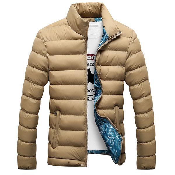 Hombres chaqueta de invierno 2019 nuevo algodón grueso acolchado chaquetas Parka Slim Fit de manga larga acolchada prendas de vestir exteriores abrigos