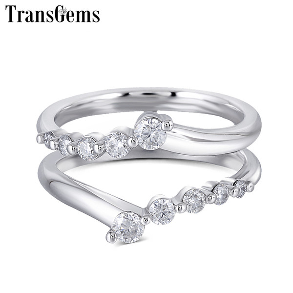 2019 Transgems Solid 14k 585 White Gold Ladies Wedding Ring F Color Moissanite Ring For Women Stackable Wedding Band For 1ct Ring J 190427 From