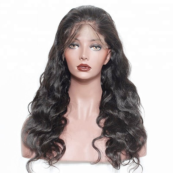 Raw unprocessed remy virgin human hair body wave sexy glueless long natural color full lace wig for women