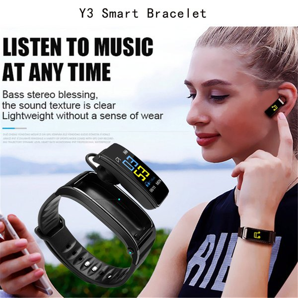 Smart Bracelet Y3 And Bluetooth Headphone With Mic Two-in-one Talkband Y3 Fitness Tracker Smartband Speaker Watch For Iphone Samsung Huawei