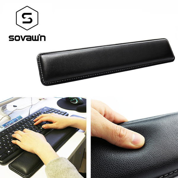 ice Keyboards Mouse Pads Sovawin Leather Keyboard Wrist Rest Pad Gamer PC Handguard Comfortable Ergonomic Game Large Mat 45*8.5*1.8 cm fo...