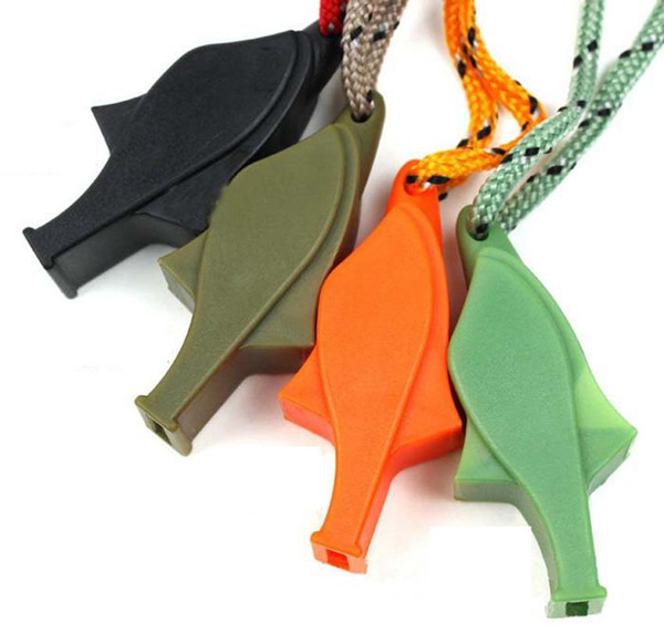 Basketball Referee Whistle Dolphin Shaped Plastic Outdoor Survival Safety Whistle with Metal Lanyard Color Mixed With Rope ZZA919
