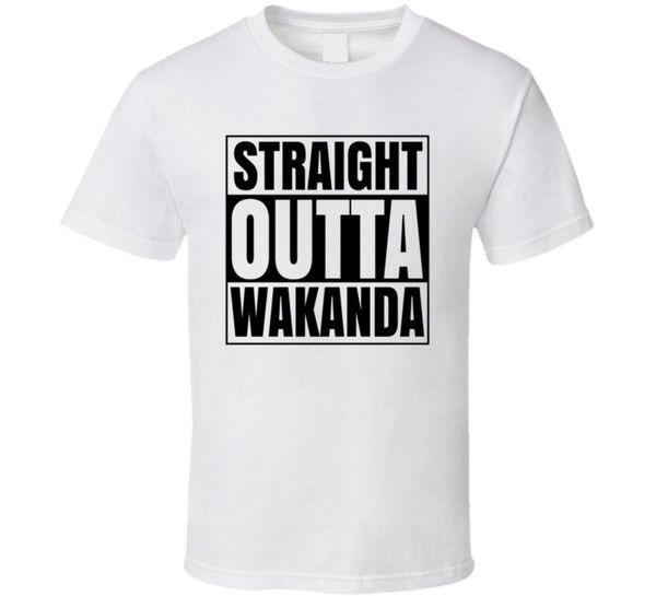 Straight Outta Wakanda Place Panther Camiseta FunnyT-Shirts dos homens camiseta Tops de Manga Curta