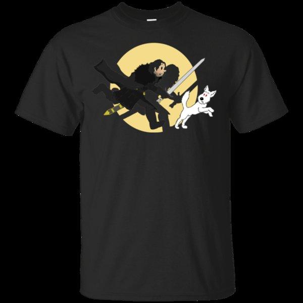 The Adventures of Tintin Game Of Thrones Jon Snow Funny Black T-Shirt Men Women Unisex Fashion tshirt Free Shipping